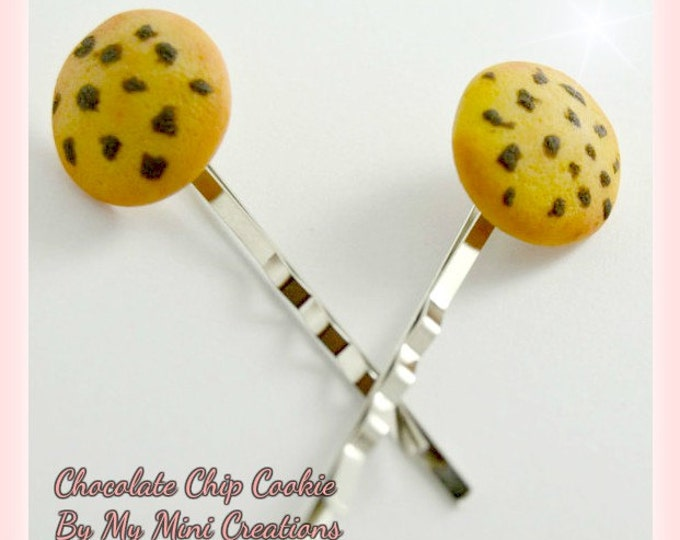 Chocolate Chip Cookie Hair Pins,  Polymer Clay, Miniature Food, Miniature Food Jewelry