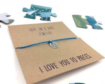 Puzzle Bracelet - Autism Awareness Bracelet - Puzzle Cord Bracelet - Autism Research - Sterling Silver Puzzle Charm - Autism Jewelry