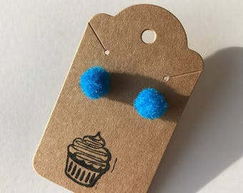 Bright Blue Pom Pom Earrings