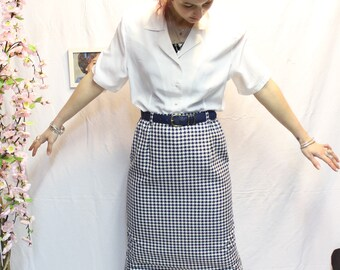Skirt right vintage blue/white houndstooth pattern