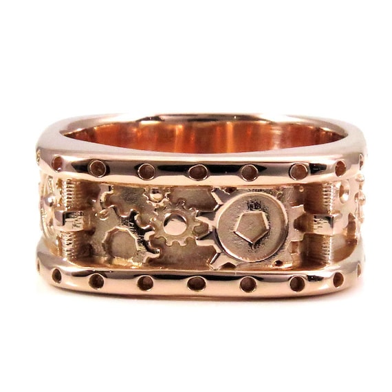 Ready to Ship Size 10 -10.5 Square Perforated Gear Ring in 14k Rose Gold - Mens Steampunk Wedding Ring