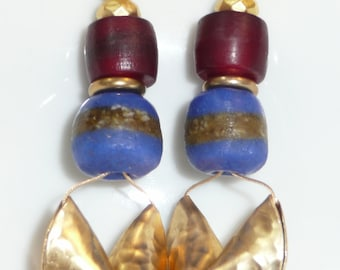 Off the Beaten Path - African trade beads, Bembe Cote barrels and brass accents earrings
