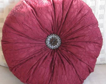 Burgundy round pillow, lace