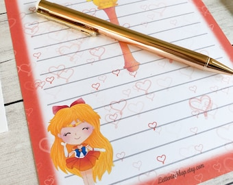 LETTER WRITING SET / Sailor Venus Inspired / Stationery / Gift Set / Snail mail / Pen-pal / Hand Painted / Paper / Anime / Sailor Moon