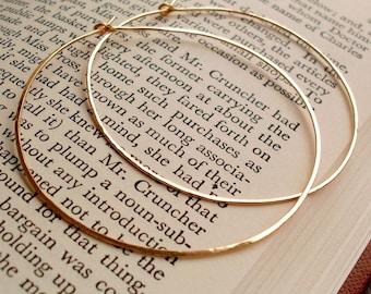 """Large Gold Hoops, 2 1/8"""" Large Gold Hoop Earrings, 14kt Gold Filled Hoops, Hammered Gold Hoops, Large 14KT Gold Filled Hoop Earrings"""