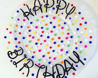 Personalized Happy Birthday Plate; Hand Painted Plate; 10 inch Plate; Cake Plate;  sc 1 st  Etsy & Personalized Happy Birthday Plate Hand Painted Plate
