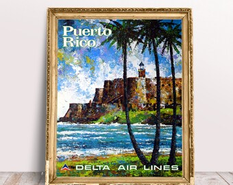 Travel Poster Puerto Rico Delta Air Lines 70'S  by Jack Laycox Travel Wall Art Poster Trip Wall Decor Gift Ideas Digitally Edited & Restored