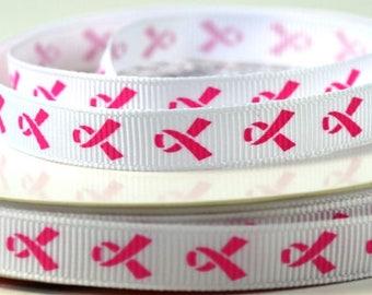 "3/8"" White and Pink Breast Cancer Ribbon, Awareness Ribbon, Grosgrain Ribbon"