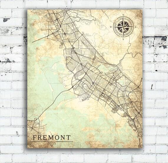 FREMONT CA Canvas Print CA California Vintage map Fremont ca