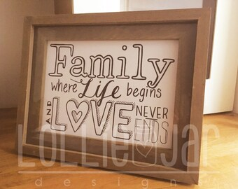 Family, Life and Love, Hand drawn typography design, framed