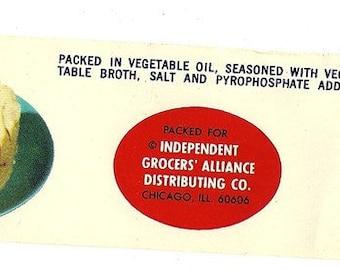 IGA Vintage Albacore White Tuna Label, 1970s