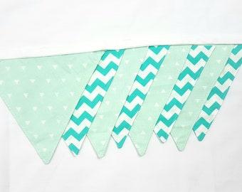 Cotton wall banner Turquoise chevron Mint Polka Dot Wall decor Nursery baby bunting Fabric garland Wedding garland Banners