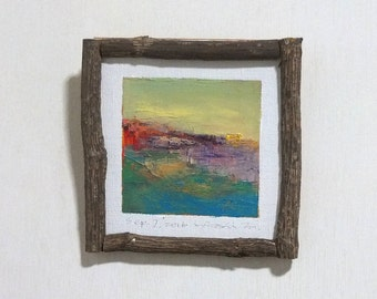 Sep. 7, 2016 - Framed Original Abstract Oil Painting - 9x9 painting (app. 9 cm x 9 cm) with original frame