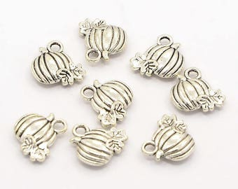 25 Pieces Antique Silver Pumpkin Charms, 11 x 11mm