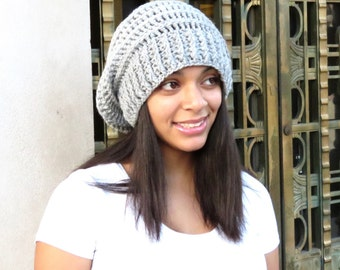 Crochet Slouchy Hat, Tam, Light Gray Hat, Ribbed, Beehive Hat, Women, Men, Teen, Tam, Color Silver Heather,