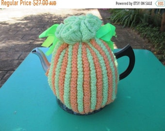 AUF Verkauf Vintage Tee gemütlich - grün und Orange Streifen - Vintage-Stil für Ihre Teekanne.