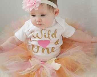 Wild One First Birthday Outfit, Outfit Includes Bodysuit, Tutu and Hair Bow