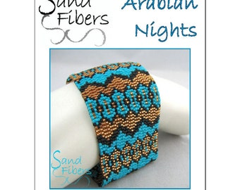 Peyote Pattern - Arabian Nights Peyote Cuff / Bracelet  - A Sand Fibers For Personal/Commercial Use PDF Pattern