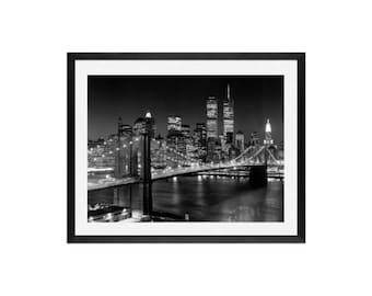 Brooklyn Bridge Art - Twin Towers -New York Art, Wall Decor, Art prints, New York City, Brooklyn Bridge, Twin Towers, Art prints, Wall deco,
