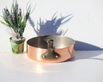 Vintage Villedieu French Copper 1 MM Saute Pan,pot, frying pan ,saucepan French copper, cuisine