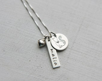 Sterling Silver Cat Charm Necklace, Personalized - Custom - Customized -  Pet Name Jewelry, Cat Jewelry, Cat Lovers Gift, Cat name necklace