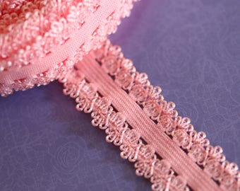 Pink elastic Ribbon with lace