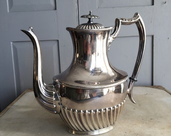 Antique English silver plated coffee pot