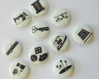 10 x 15mm Black and white sewing themed wooden buttons