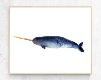 Original Narwhal Whale Watercolour Fine Art Print, Coastal Decor, Beach House Printable Digital Download