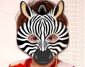 Zebra Printable Mask DIY Safari Jungle Black Animals Masks Booth Prop Birthday Party Game Halloween Costume Children Adult Photo Masquerade  sc 1 st  Etsy & Elephant Printable Mask Gray DIY Safari Jungle Animal Masks