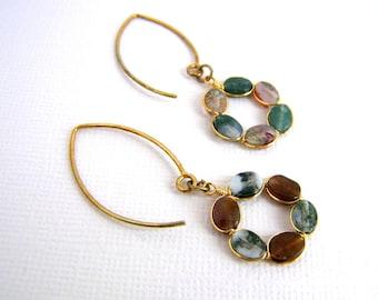 Gemstone Hoop Earrings, Gold Fill Agate Wreaths, Round Woodland Earrings, Almond Shaped Gold Fill Earwires, Earthtone Earrings, Indian Agate
