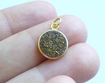 Gold Vermeil Bezel Bronze Druzy Quartz -- 1 Faceted Stone -- 11mm Charm