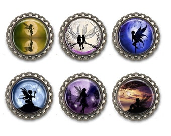 Fairy Silhouettes Bottle Caps Necklace/ Keychain/Zipper Pulls