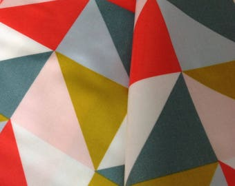 Coated cotton geometric pattern multicolored mustard yellow and Red coral