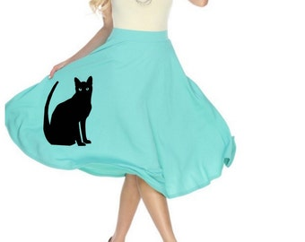 Cat Skirt Women's Plus Size Midi Swing Skirts Plus Size Clothing with Cats Print Fit and Flare Dress cute pin up clothes Round 50's vintage