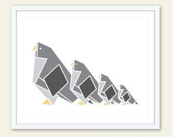 Origami Birds Art Print - Origami Bird Wall Art - Nursery Decor - Geometric Bird Print - Birds Nursery Wall Art - Modern Bird Print