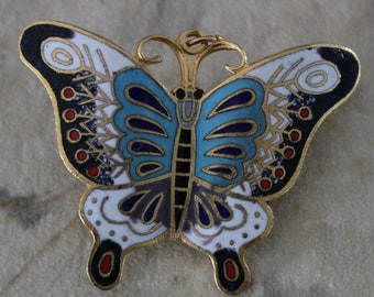 Stunning Unique Vintage Brass and  Enamel Butterfly Pin and Pendant