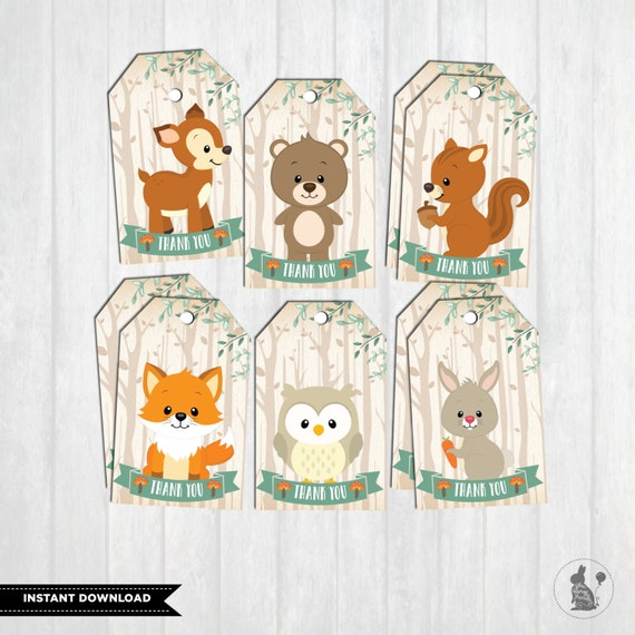 WOODLAND BABY SHOWER Favor Tags. First Birthday Party Decor.
