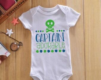 """Baby Boy Onesie-Shirt-""""Captain Adorable""""- Captain-Skulls-Baby Boy Onesie-Toddler Boy's Shirt-Bodysuit"""