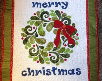 Merry Christmas quilted wall hanging, handmade