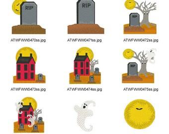 Prim-Halloween  ( 13 Machine Embroidery Designs from ATW ) XYZ17B