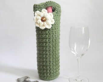 Light sage with ivory accent flower Crocheted wine holder, wine holder, wine cozy