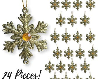 "Gold Snowflakes –  24 Small 2 "" Snowflake Ornaments with a Jewel -  Glittered Snowflakes with Strings – Winter Party Decoration 3585-2"