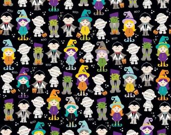 Cute Halloween Characters on Black ~ Riley Blake Halloween Magic ~ Woven Cotton by the Yard