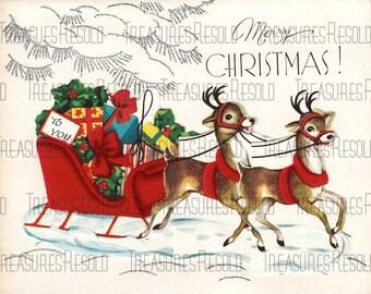 Retro Reindeer Santa Sleigh Filled Presents Merry Christmas Card #615 Digital Download