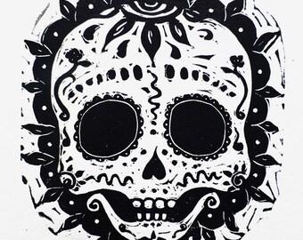 Baby sugar skull print - calavera de azucar linocut
