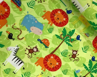 Jungle Animals on Green from the Jungle Jam Collection from Timeless Treasures, Novelty, Jungle Animals, Kids Fabric