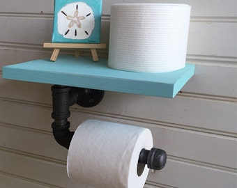 Toilet paper holder, Pipe Shelf for Wall, Beach Bathroom Decor, Bath Shelf, industrial Style toilet paper holder, bathroom wall shelf