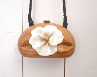 Timmy Woods Handbag 80s White Hibiscus Flower Vintage Cross Body Bag Acacia Wood Purse