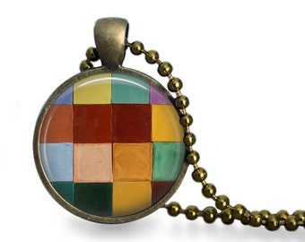 Colorful glazed tile inspired pendant necklace geometric checkerboard jewelry warm colors